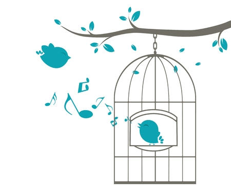 Illustration of Singing birds on a cage Vector