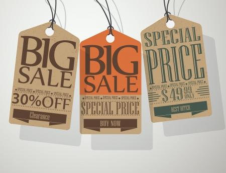 削減: ベクトルのビンテージ スタイルの販売のタグ