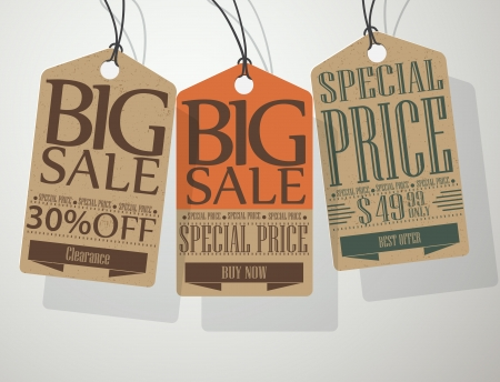 half price: Vector Vintage Style Sale Tags Illustration