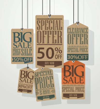 Vector Vintage sale tags design  Vector