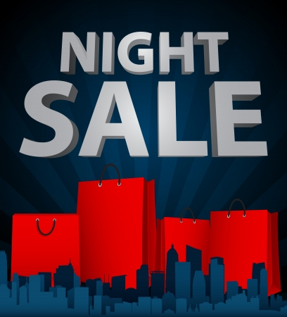 Vector Illustration of Night sale with shopping bag in city  Vector