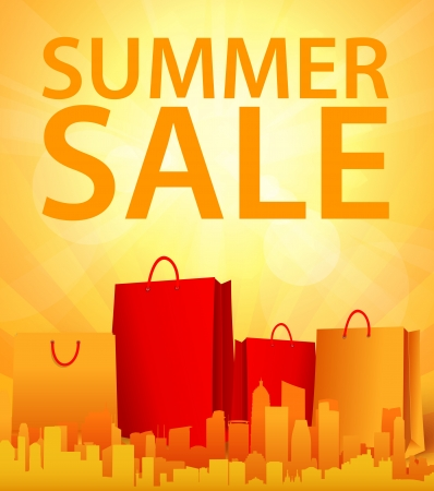end of summer: summer sale design with shopping bag