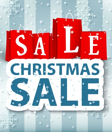 after shopping: Vector Illustration of Christmas sale design