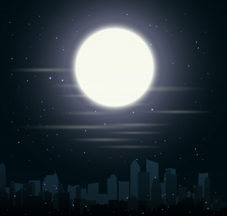 skylines: Vector Illustration of city skylines with moon