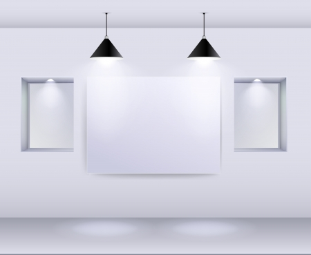 Gallery Interior with empty frame on wall and spotlights  Illustration