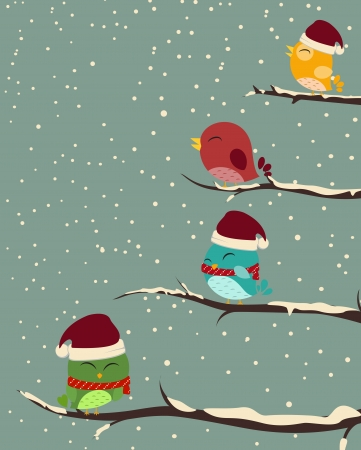 Vector Illustration of Birds on trees  winter scene  Vectores