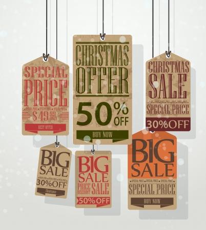 kerst markt: Vector Illustratie van Kerstmis verkoop tags Vintage stijl tags en labels Stock Illustratie