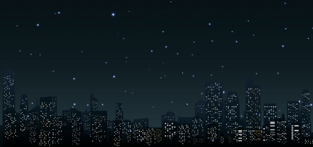 skylines: City skylines at night  urban scene Illustration