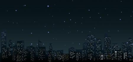 urban background: City skylines at night  urban scene Illustration