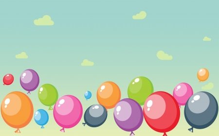 midair: Vector Illustration of Festive balloons background  with big place for your advertising