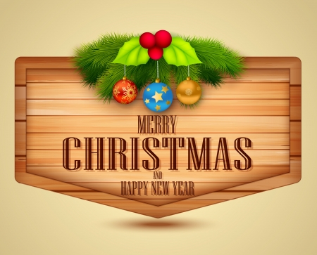 Vector Christmas Element with message on wooden background Vector