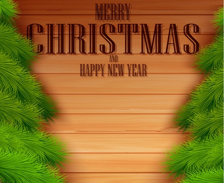 Vintage Christmas fir tree on wooden background  Vector