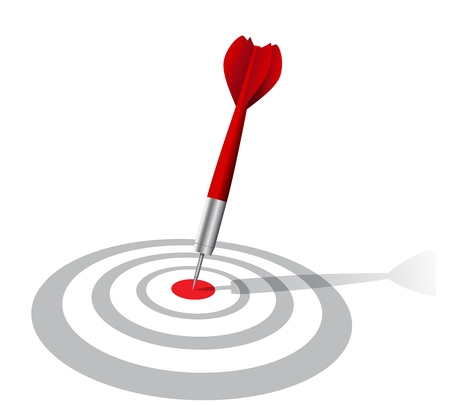 Vector Illustration of realistic darts target with shadow  Vectores
