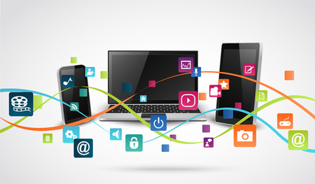 Tablet computer and mobile phones with colorful application icon Vectores