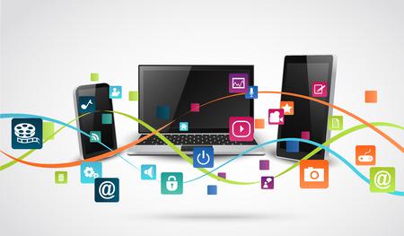 Tablett dator och mobiltelefoner med färgglada programikon Illustration