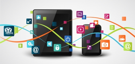 Vector Tablet computer and mobile phones with colorful application icon