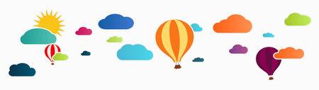 air balloon: sun and clouds with hot air balloon