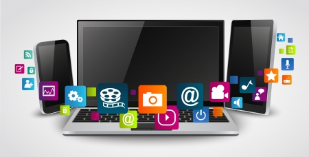 Tablet computer and mobile phones with colorful application icon  Illustration