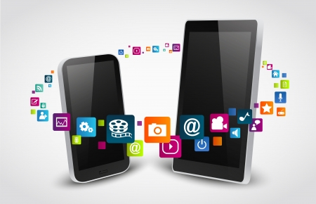 touch screen phone: colorful applications icons  Illustration