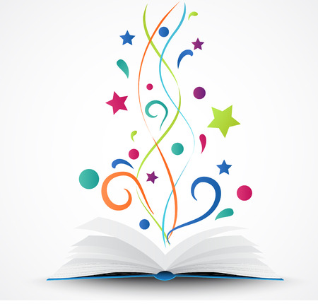 Book opened abstract with colorful star and wave