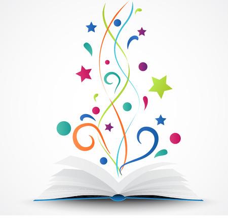 libros abiertos: Libro abierto abstracto con estrellas de colores y de las olas Vectores