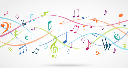 vector Illustration of Abstract Background with Colorful Music notes