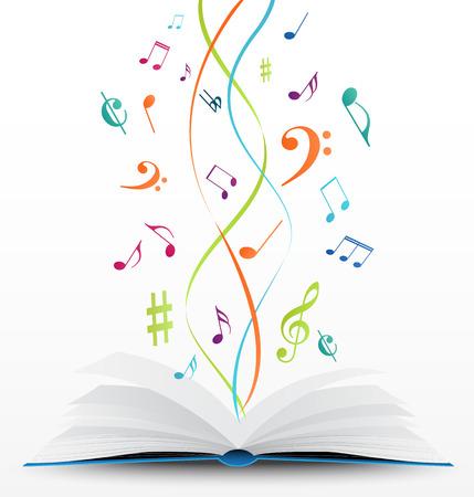 libro: vector Ilustración de las notas musicales en el fondo libro abierto