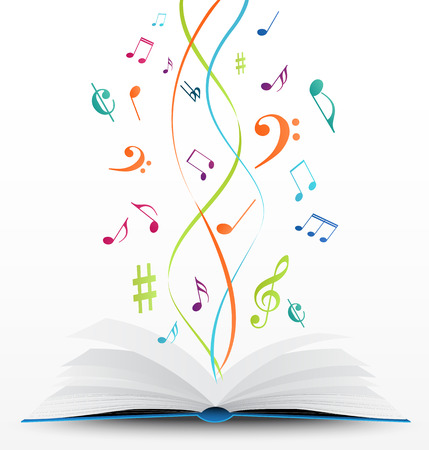 vector Illustration of music notes on open book background