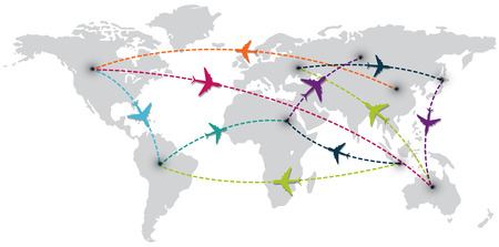 world travel with map and air planes   vector illustration  eps10