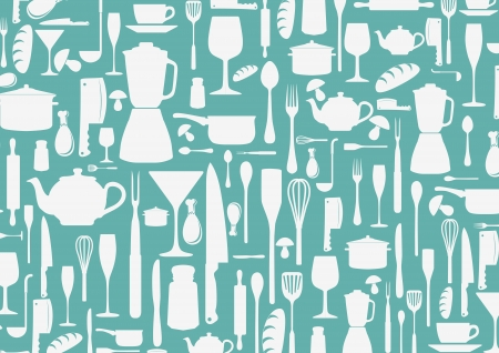 cooking pot: Vector seamless pattern with cooking icons background