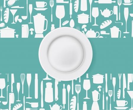 Illustration of Restaurant menu design with plate