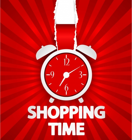 alarmclock: Shopping time poster design with alarm clock Illustration