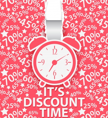 Sale design with alarm clock and percent