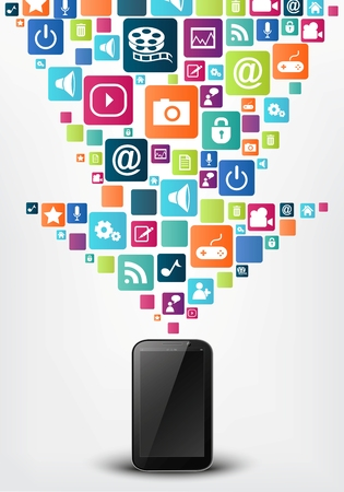 information management: Vector Smartphone with arrow social media icons Illustration