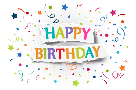Illustration of Happy birthday greetings on ripped paper