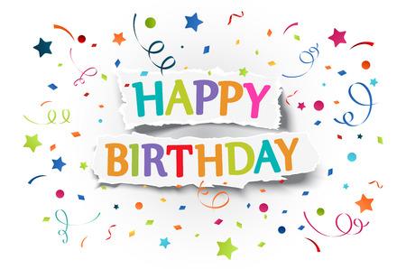 happiness: Ilustración de felices saludos de cumpleaños en papel rasgado