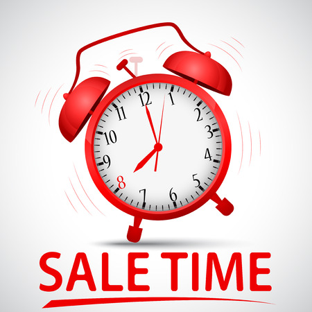 Vector Illustration of sale promotion with alarm clock Vector