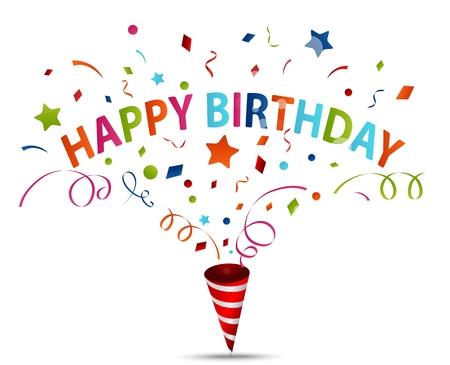 felicitaciones: Ilustración vectorial de la celebración de cumpleaños con confeti