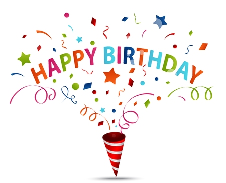 Vector Illustratie van de viering van de verjaardag met confetti
