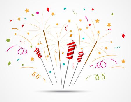 Vector Illustration of Firecracker with fireworks popping on white background