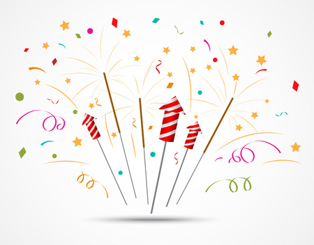 firecracker: Vector Illustration of Firecracker with fireworks popping on white background