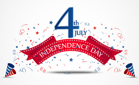 Vector Illustration of Independence day celebration with confetti