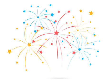 Vector Illustration of Fireworks with star on white background