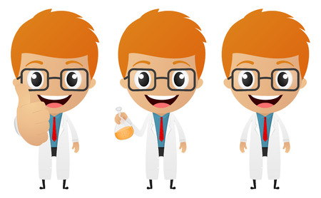 Vector Illustration of young scientist cartoon Vector
