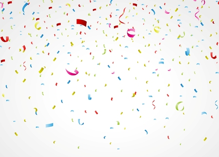 Vector Illustration of colorful confetti on white background  Vectores