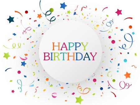 felicitaciones: Ilustración vectorial de la celebración de cumpleaños con papel picado de colores