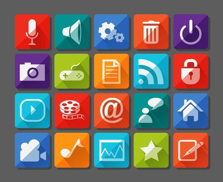 Vector Illustration of New app icons set in flat Vector