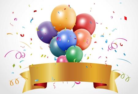 Ilustración vectorial de colorido la celebración del cumpleaños con el globo y la cinta Foto de archivo - 27456120