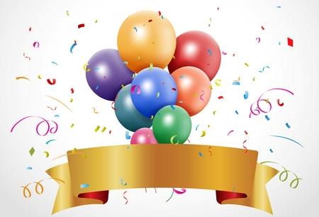 celebration background: Vector Illustration of Colorful birthday celebration with balloon and ribbon