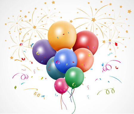 balloon vector: Vector Illustration of Colorful birthday with balloon and fireworks